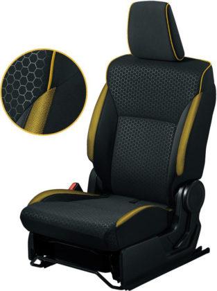 シートパイピングやシート側面のカラーアクセント イエロー