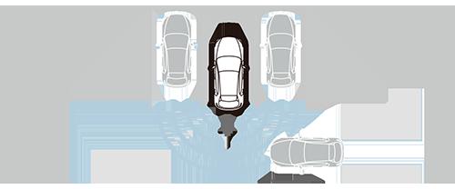 0~約10km/hで後退中に車両後方や左右に接近した車両を検知して衝突の危険があるとブレーキ制御を行うことも可能